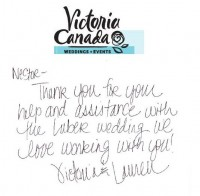 Thank You from Victoria Canada Wedding & Events
